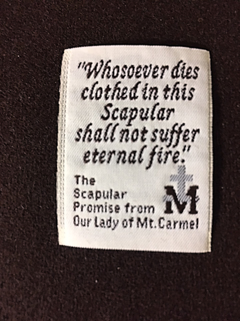 Individual print of '...Promise from OLMC...' scapular.