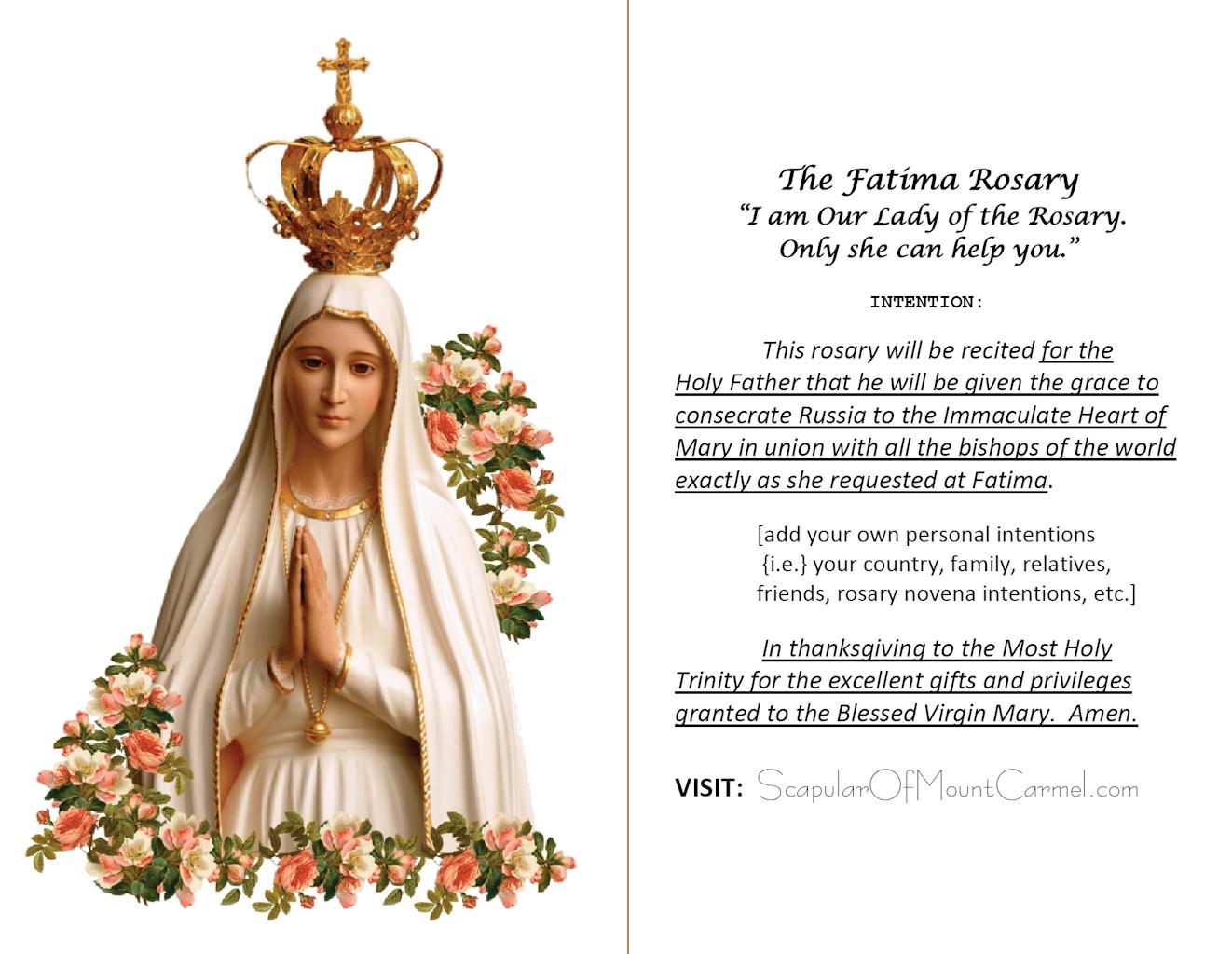 Fatima Rosary Prayer Card