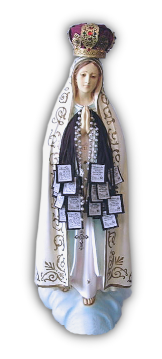 Statue of the Blessed Mother holding the scapulars